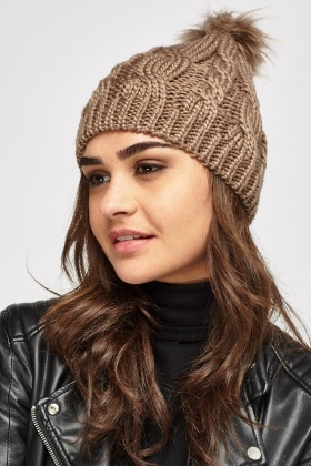 Cable Knit Pom Beanie Hat
