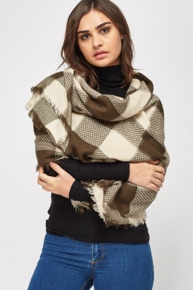 Metallic Insert Checked Scarf