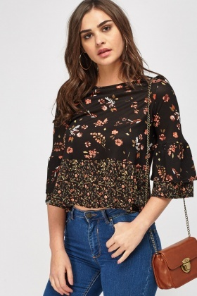 Mixed Print Flare Sleeve Top