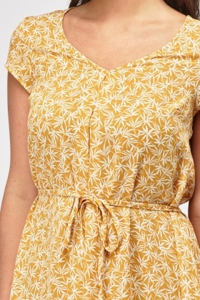 Printed Mustard Tie Up Swing Dress