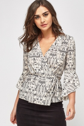 Printed Tie Up Wrap Top