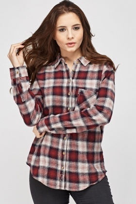 Checked Grid Boyfriend Fit Shirt