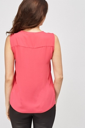Zip Neck Sleeveless Top