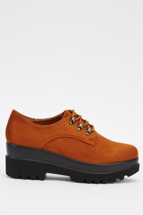 Lace Up Suedette Wedged Shoes