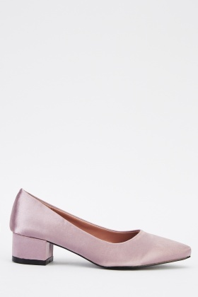 Low Heel Sateen Court Shoes