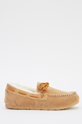 Suedette Faux Fur Trim Shoes