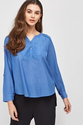 Button Neck Casual Top