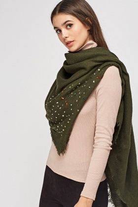 Embellished Frayed Trim Scarf