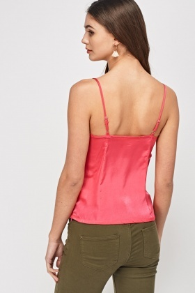 Embroidered Lace Trim Sateen Cami Top