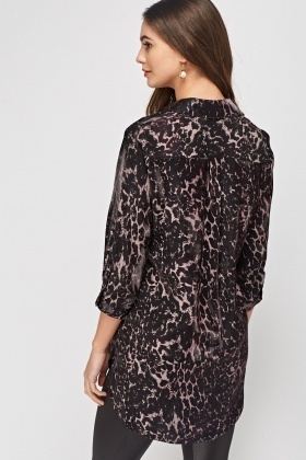 Sateen Leopard Print Metallic Shirt