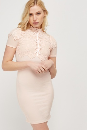 Laced Contrast Ribbed Dress