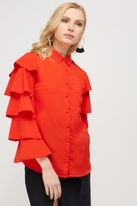 Layered Flare Sleeve Shirt