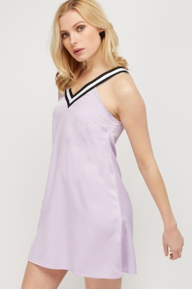 Contrast Strap Lilac Shift Dress