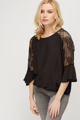 Lace Flare Sleeve Top
