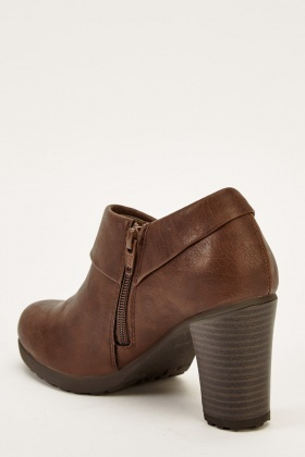Brown Faux Leather Heeled Boots