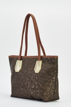 Coffee Jacquard Print Bag