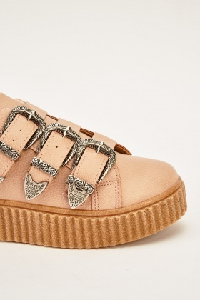 Faux Leather Buckle Pink Shoes