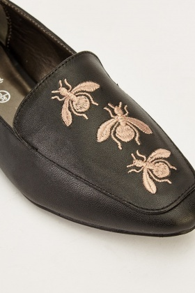 Faux Leather Embroidered Bee Shoes