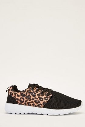 Leopard Print Contrast Trainers