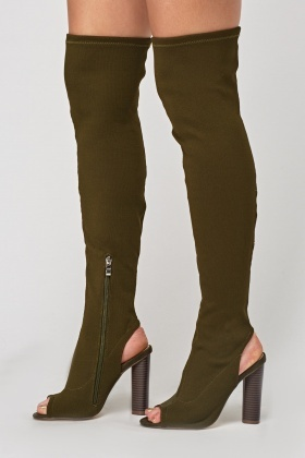 Over The Knee Peep Toe Heeled Boots