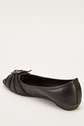 Peep Toe Faux Leather Ballets