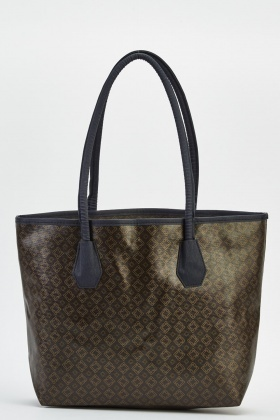 Printed Dark Brown Bag