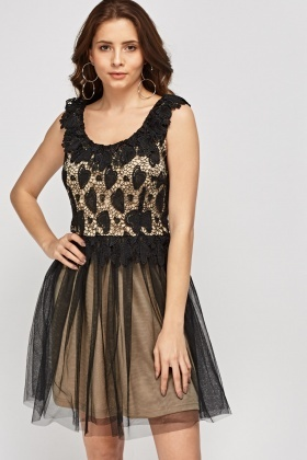 Crochet Heart Mesh Overlay Dress