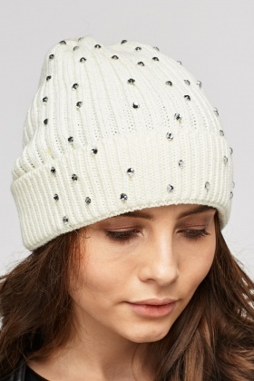 Diamante Cable Knit Beanie Hat