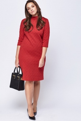 Embossed 3/4 Sleeve Dress