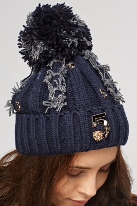 Frayed Embellished Beanie Hat