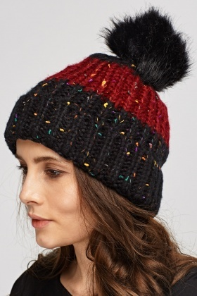 Speckled Knitted Pom Beanie Hat