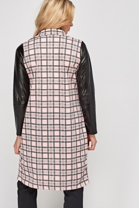Checked Faux Leather Sleeve Duster