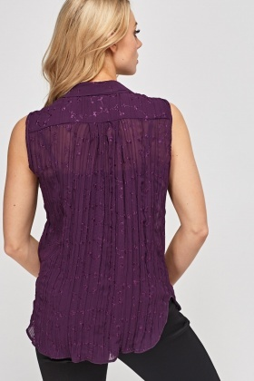Embroidered Pleated Sheer Top