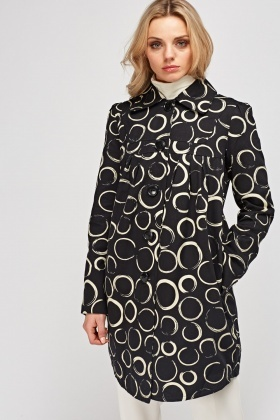 Printed Black Coat