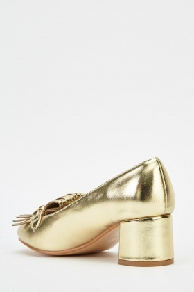 Metallic Fringed Block Heel Shoes
