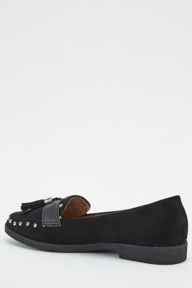 Tasseled Suedette Loafers