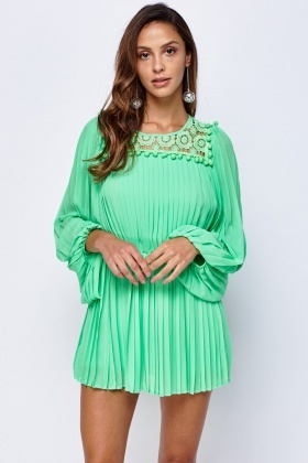 Crochet Pleated Sheer Dress