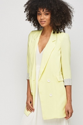 Double Breasted Light Yellow Jacket
