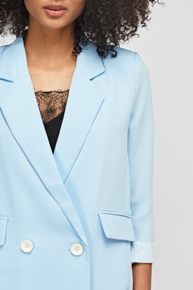 Lace Trim Double Breasted Jacket