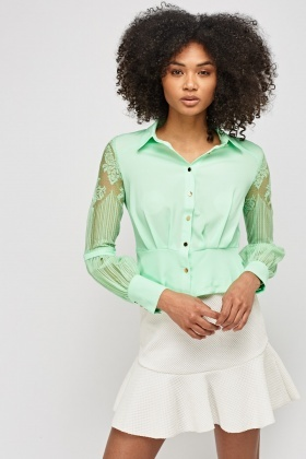 Mesh Sleeve Cropped Blouse
