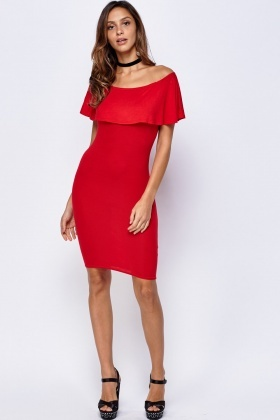 Off Shoulder Red Flare Overlay Dress