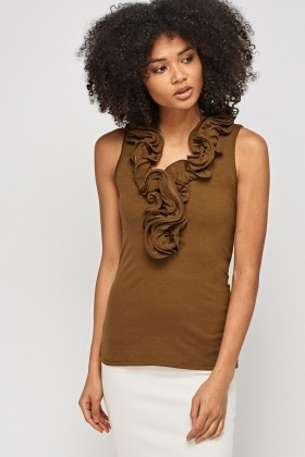 Ruched Panel Sleeveless Top