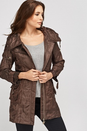 Casual Crinkled Zipped Jacket