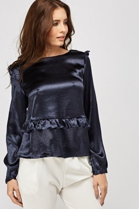 Metallic Silky Frilled Top