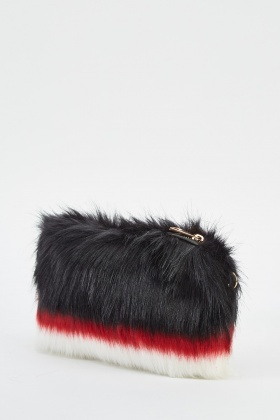 0572f30995 Black Trio Faux Fur Clutch Bag - Just £5
