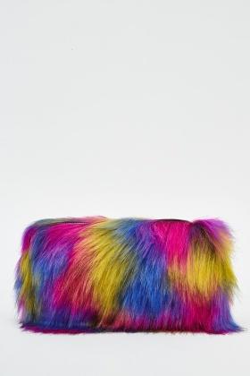 Hot Pink Multi Faux Fur Clutch Bag