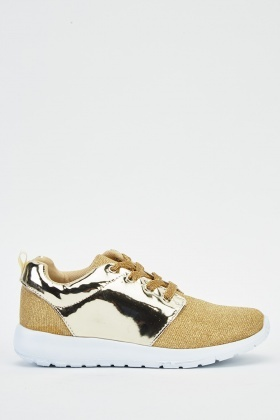 Lurex Metallic Lace Up Trainers
