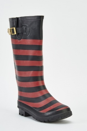 Multi Striped Wellie Boots