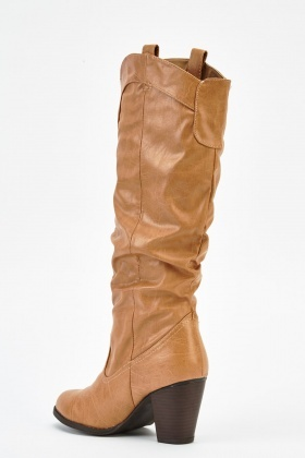 Ruched Faux Leather Boots