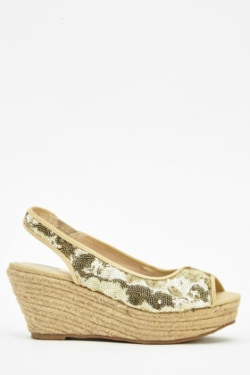 Sequin Wedge Sling Back Shoes